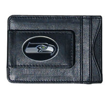 Seattle Seahawks NFL Football Team Leather Card Holder Money Clip Wallet