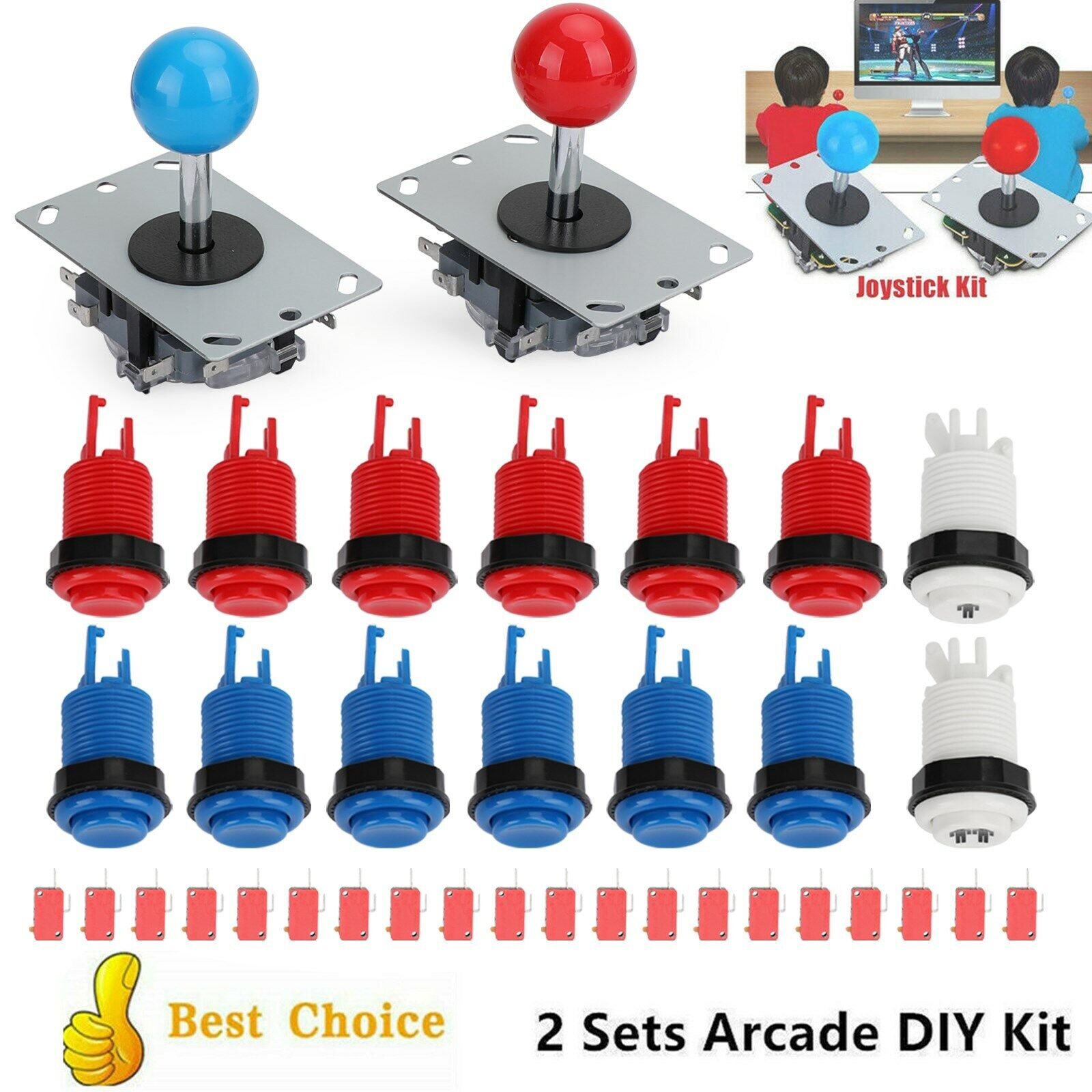 Joystick Push Button Start Button Micro Switch DIY Kit For Arcade Game 2 Player.