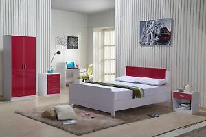 Image Is Loading High Gloss Bedroom Furniture Set Red White Wardrobe