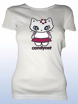 T-shirt donna bianco made in italy TRASPARENZE girocollo tg l large candycat