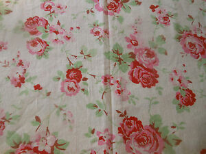 Vintage-French-Shabby-Cottage-Roses-Cotton-Fabric-Strawberry-Red-Pink-Green