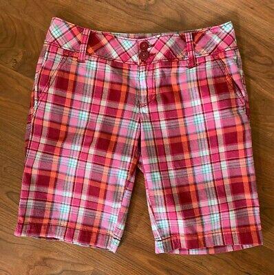 NEW AEROPOSTALE Yarn-dyed Womens Maroon Plaid Bermuda Shorts Size 1