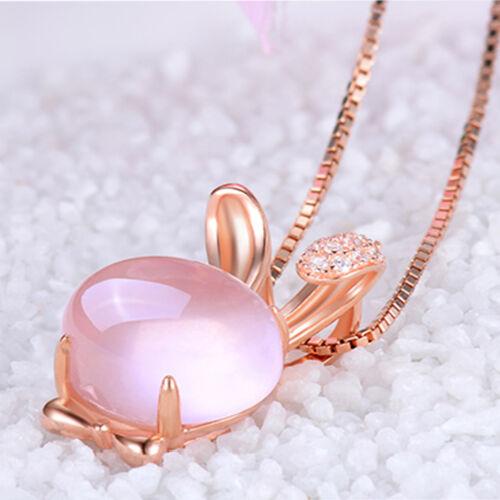 Natural Rose Pink Lotus Stone Rabbit Shape Stone Pendant For Necklace Women