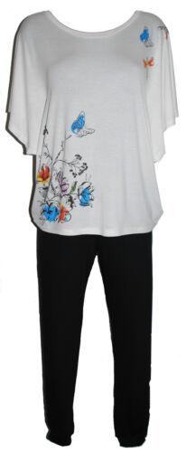 Taglie 8-24. Ladies Batwing Stile Butterfly Motif Pigiami Color Crema Con Pantaloni Neri