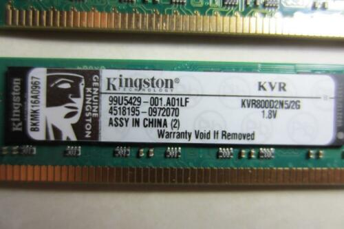 4GB 2x2GB Kingston PC2-6400 DDR2-800MHz 240-Pin DIMM Memory KVR800D2N5//2G