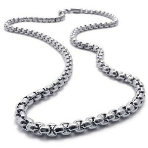 MEN-2MM-Silver-20-Stainless-Steel-Pearl-Box-Chain-Necklace-Fashion-Pendant-1PC