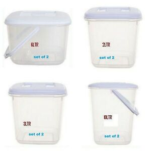 PLASTIC CANISTER CEREAL FOOD STORER DOG FOOD STORAGE CONTAINERS Set