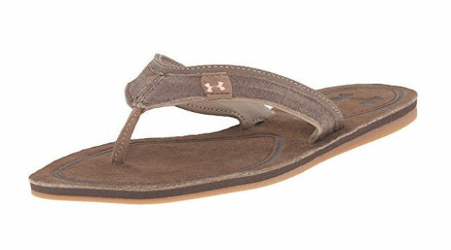 31e43cb77a66 Under Armour Women s TropicFlo Leather Thong Sandal Brown Neon Papaya Size 6