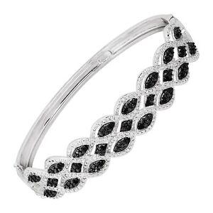 1-3-ct-Black-amp-White-Diamond-Bangle-Bracelet-in-Rhodium-Plated-Bronze-7-5-034