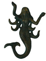 5.75h Verdigris Finish Iron Mermaid Shaped Triple Wall Hook Nautical Hanging
