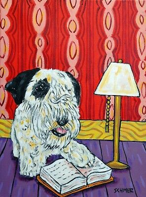 sealyham terrier dog art  13x19  bathroom  abstract folk GLOSSY PRINT