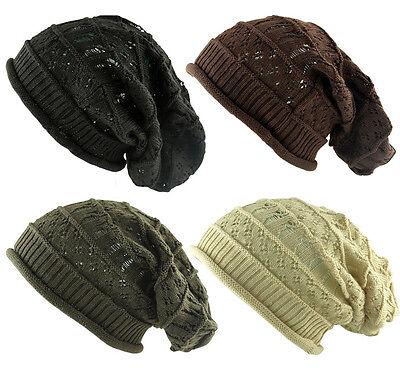 Preciso Men's A Maglia Oversize Slouch Crochet Beanie Cap Hat Strappato Inverno Con Effetto Invecchiato-mostra Il Titolo Originale Per Garantire Una Trasmissione Uniforme