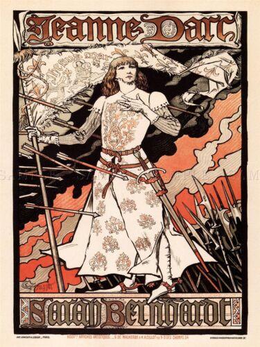 THEATRE STAGE SARAH BERNHARDT JEANNE D/'ARC FRANCE HEROINE ADVERT POSTER 2189PYLV