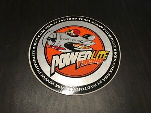 NOS VINTAGE ROUND POWERLITE RACING FLYING  BMX STICKER
