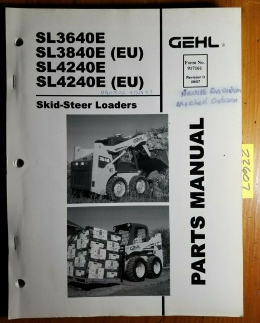 Gehl SL3640E SL3840E SL4240E EU Skid-Steer Loader Parts Manual 917161 Rev D  8/07