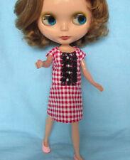 Blythe Doll Outfit Cloth Red Checks Dress
