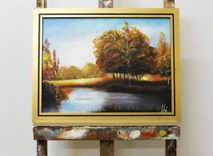Gemaelde-Wald-Handarbeit-Olbild-Bild-Olbilder-Rahmen-Bilder-Landschaft-G96111