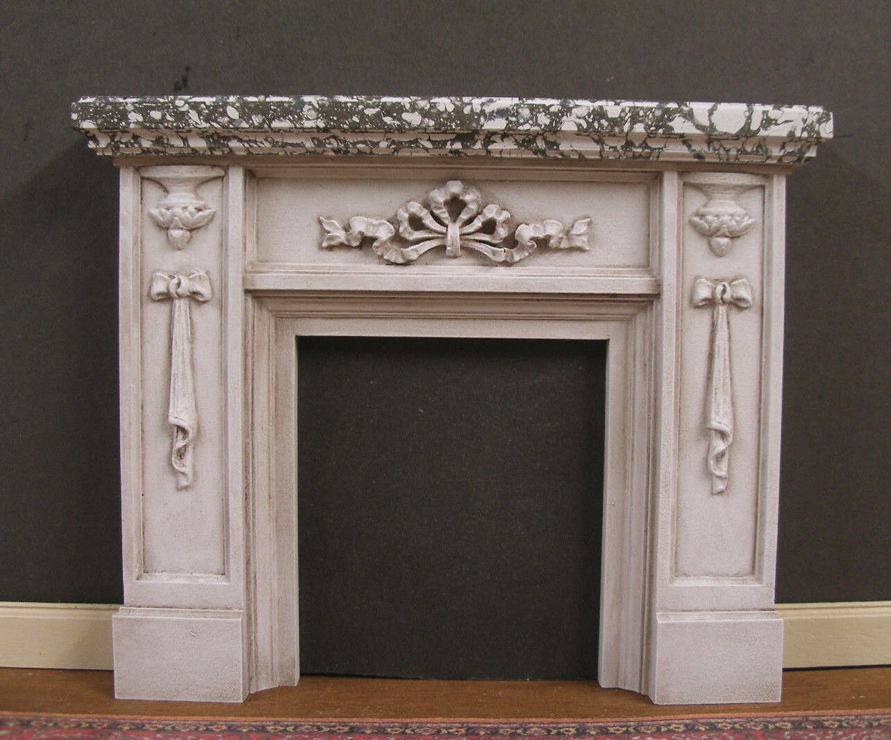 FIREPLACE  Marble Finish  Distressed  Dollhouse Mini  1 12 scale  Room Box