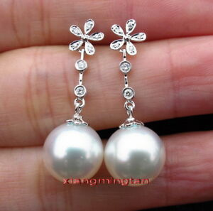 Top real 18K white GOLD 11-12MM SOUTH SEA round white PEARL Dangle EARRINGS
