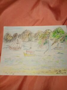 Pencil drawing of the waters and boats in Mexico