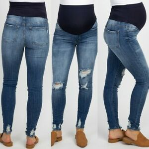 Pregnant-Woman-Ripped-Jeans-Maternity-Pants-Trousers-Nursing-Prop-Belly-Legging