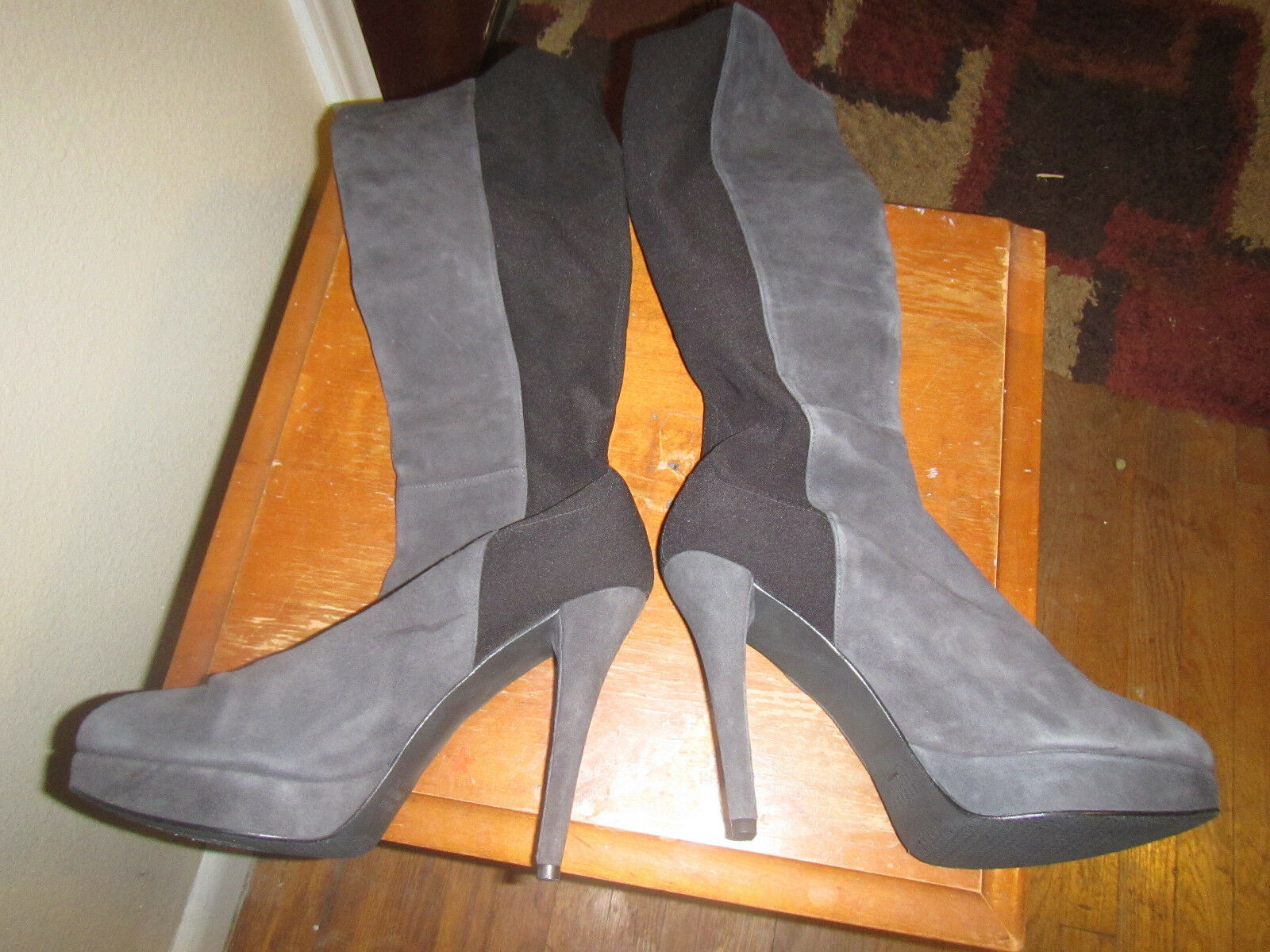 Stuart Weitzman OTK suede black new boots boots boots 10.5 high heel pull on 50 50 highline cffc60