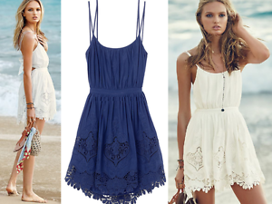 6f7a08053473c VICTORIA'S SECRET Tie-Back Embroidered Cover-Up Dress in Blue sz XS ...
