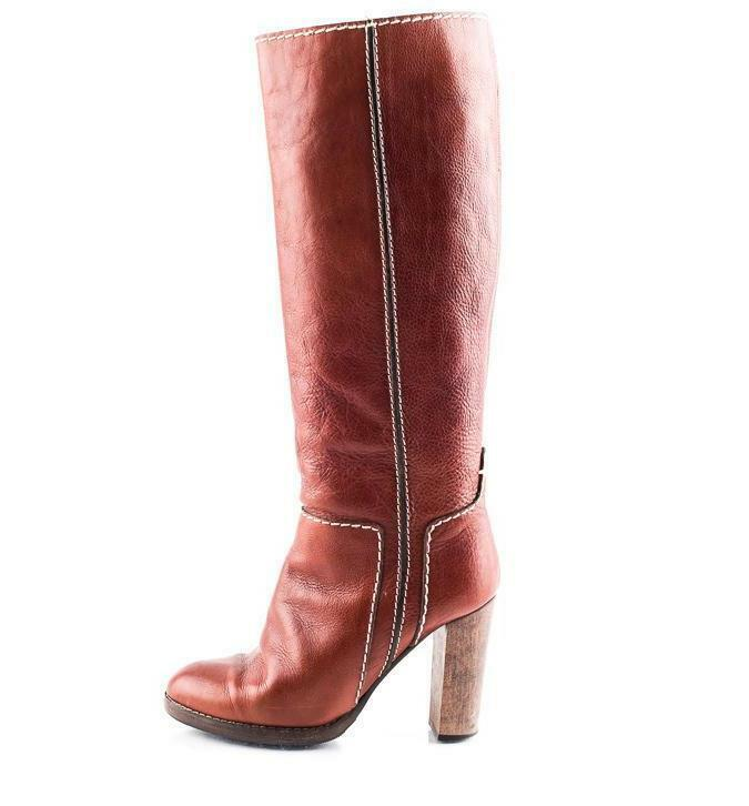 CHLOE Womens Brown Leather Knee High Stitches Tall Wooden High Heel Boot 9-39