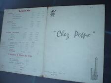 MENU RESTAURANT CHEZ PEPPO PARIS 1960