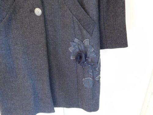 Una ~ Coat 12 Applique Vintage amp;s Charcoal Per M Stunning xgtq41wvnP