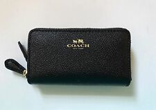 COACH Crossgrain Small Double Zip Coin Case Card holder Wallet 57855 NWT Black