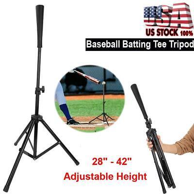 Portable Heavy Duty Baseball Softball Tripod Stand Batting Tee Training Aid