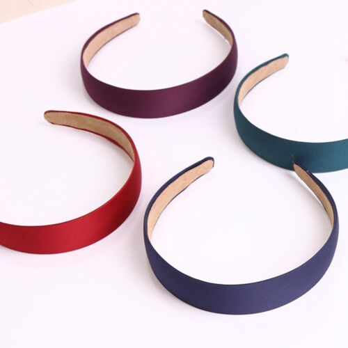"""1.1/"""" Covered Satin Alice Band Headband Head Wear Hair 12 Mixed Color Wide 28mm"""