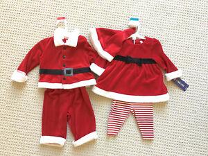 12c07b7deb73 NWT baby boy/girl twins brother/sister Christmas Santa outfits, 0-3 ...