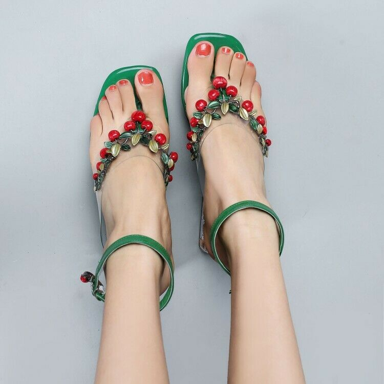 Womens Summer Trendy Cherry Thong Sandals Ankle Strap Block Mid Heels Sz S113