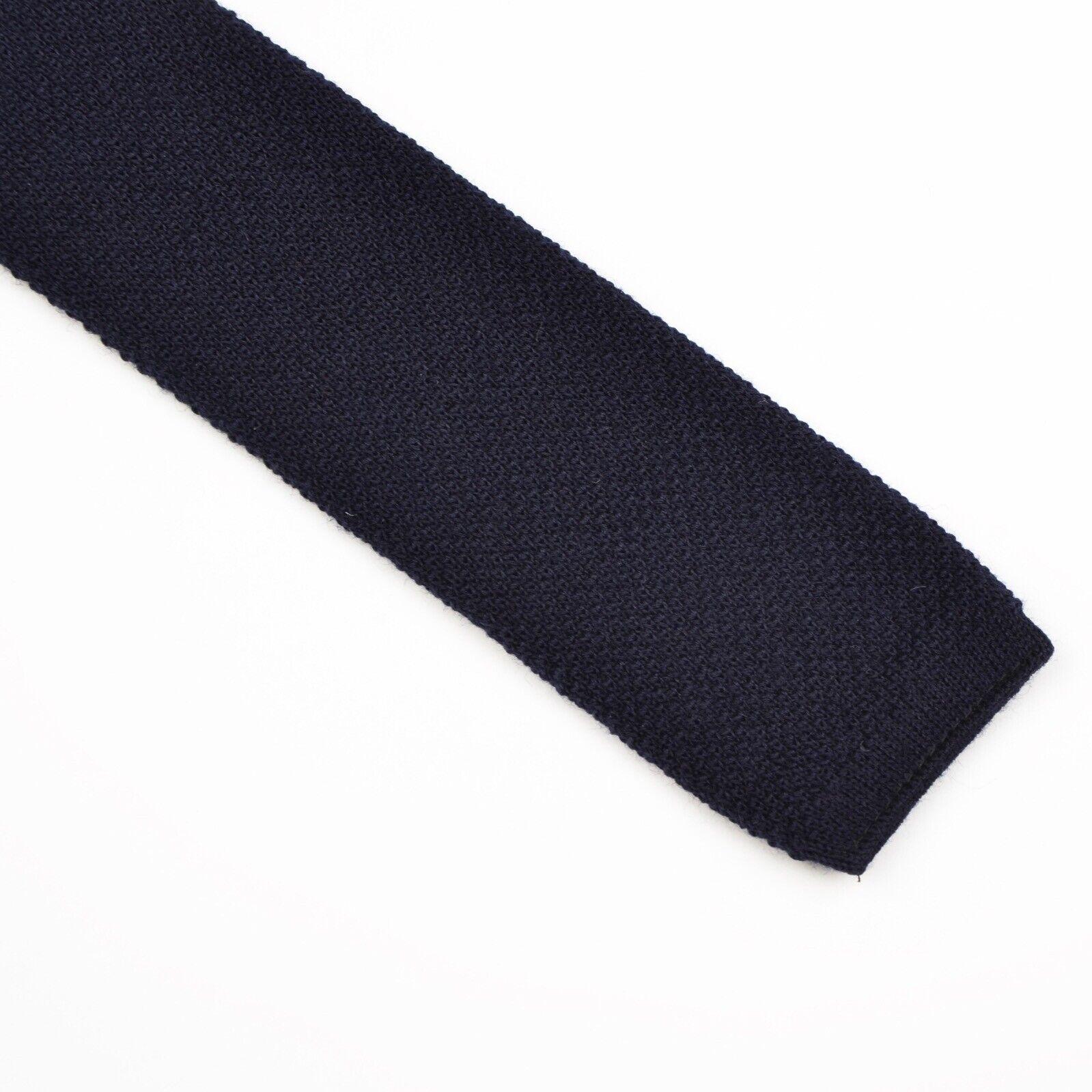 100% Wolle Wool Gestrickte Krawatte Knit Tie Blau Navy HERBST Made in Germany