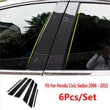 6pcs Carbon Fiber Pillar Posts For Honda Civic 06 11 Set Door Trim Cover Kit Fits 2006 Civic