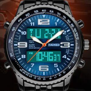 Luxury-Men-039-s-Analog-Digital-Stainless-Steel-LED-Army-Military-Sport-Wrist-Watch