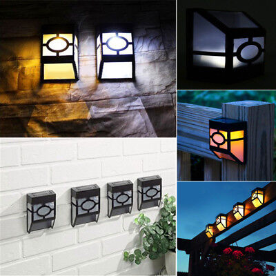 LED Light Solar Powered Wall Mount Landscape Fence Yard Lamp Outdoor Garden Path