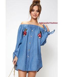 Womens-Off-Shoulder-Shirt-Dress-Bardot-Button-Denim-Casual-Long-Tunic-Top-Blouse