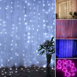 300LED-String-Curtain-Lights-Waterfall-Window-Night-Light-Christmas-Party-Decor