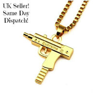 Supreme Uzi Machine Gun Pistol Necklace Pendant Chain Gold UK Seller