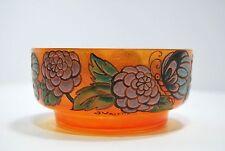 COUPE verre émaillé ART DECO fleurs & papillons signée 1920