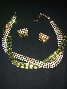 Rare-Signed-Schoffel-Austrian-Rhinestone-Necklace-Earring-Set-Vintage-1950-s