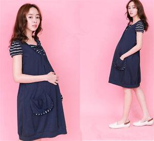 Pregnant Women Skirt Short Sleeve Maternity Feeding Nursing Dress Red Dark Blue