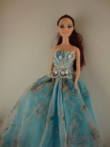 Pretty Little Blue Ball Gown with Sequin Accents Made to Fit Barbie Doll