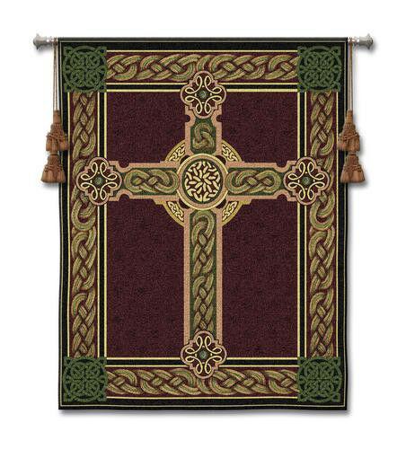 53x40 CELTIC CROSS Ireland Irish Tapestry Wall Hanging