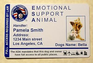 Esa Emotional Support Animal Id Card Therapy Dog Id Badge