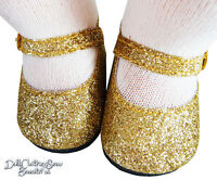 Gold Glitter Shoes Fits Bitty Baby + Twins Doll Clothes Sew Beautiful