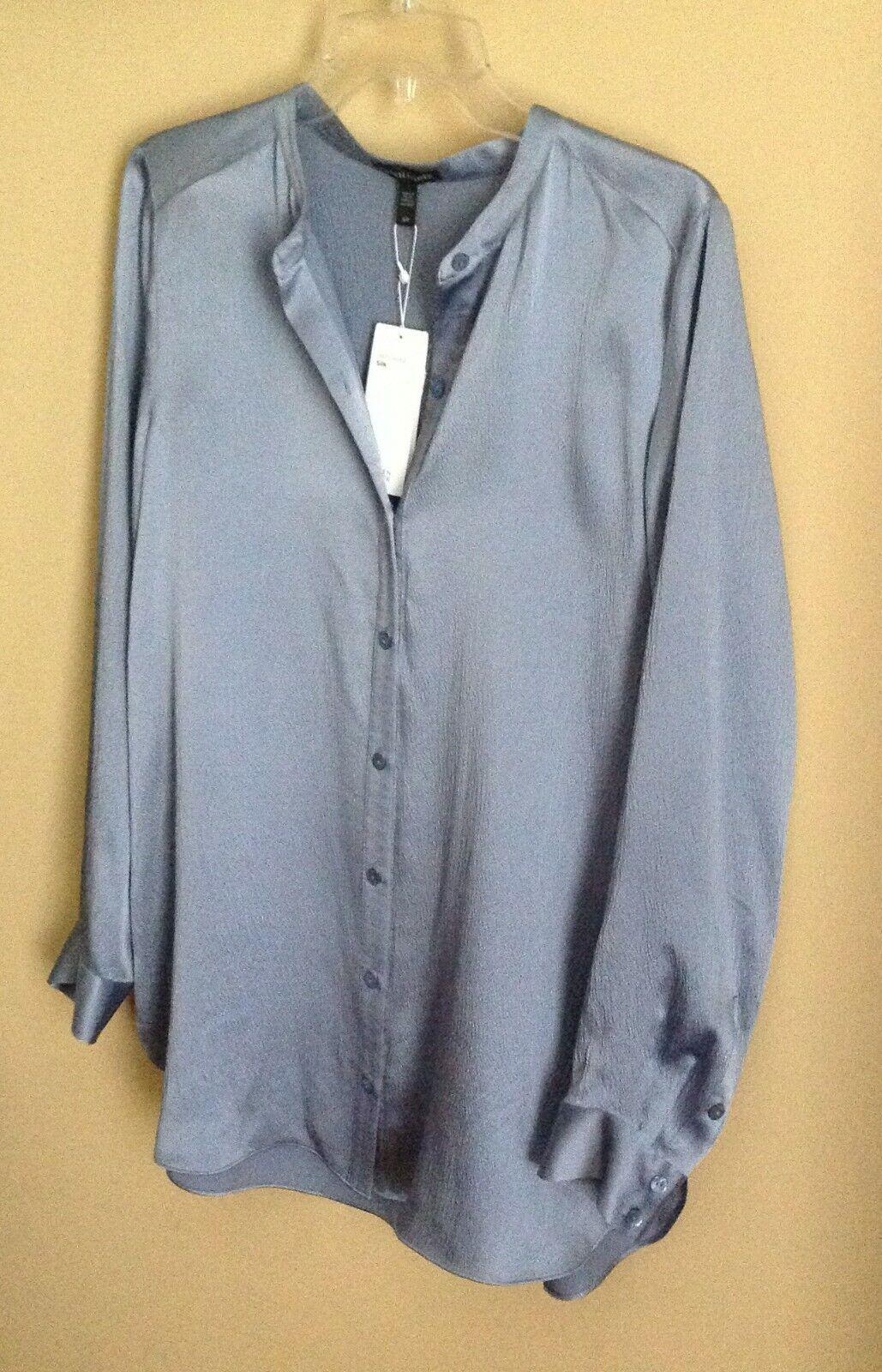 Eileen Fisher schwarz Hammerot Silk Satin Mandarin Collar Shirt Blouse Top S